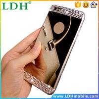 for iphone4 4s 5 5s Phone Case Luxury Rhinestone Diamond Glass Mirror TPU Soft Gel Bling Back Cover for Apple Iphone 6 6s/6 plus