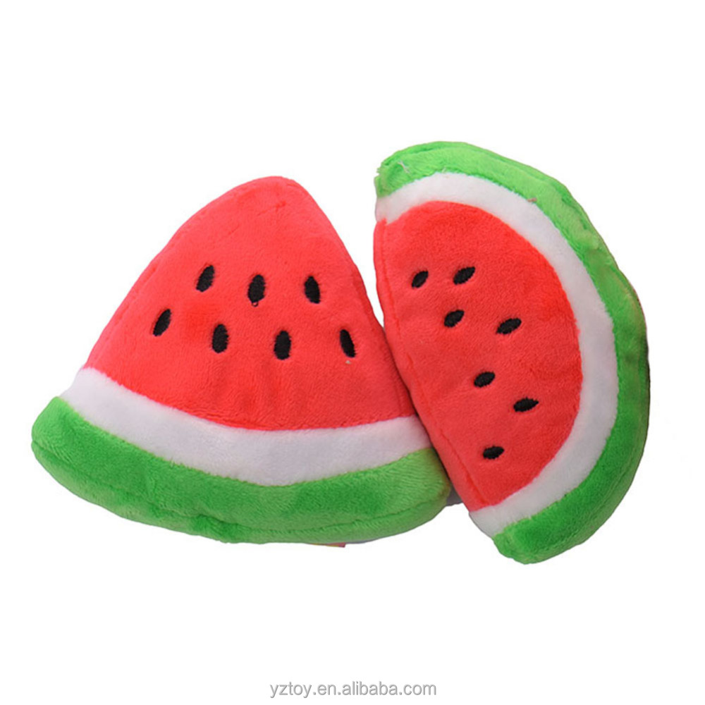 long 11cm wide 12cm New Pet Cat & Dog Toy Plush Sound Cute Watermelon Two Kinds Of Shapes Free Shipping
