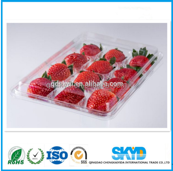 PET strawberry box ,disposable plastic 3 tier fruit tray