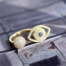 Distinctive Micro Pave Evil Eye Open Gold Plated Rings