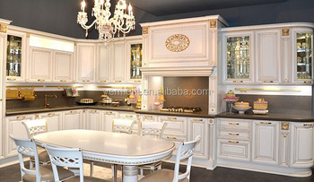 European Style Solid Wood Kitchen Cabinet Island Kitchen