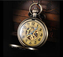 2015 new design style hot sales Mechanical Skeleton Hand-Wind Automatic Silver Pocket Watch