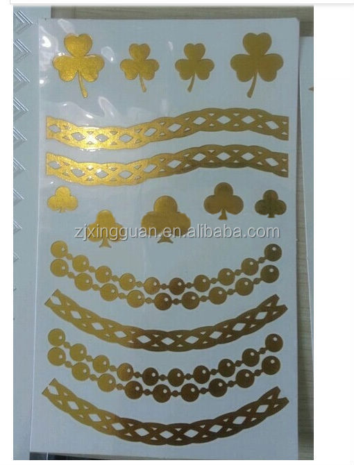 New Coming Waterproof environmental Body Golden Tattoo Sticker Metallic Tattoo Sticker for Temporary Tattoo