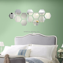 Acrylic Stickers 3D Embellishments hexagon Mirror sticker Decorative Sticker For Living/Bed Room