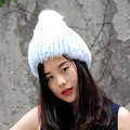 CX-C-58 Wholesale Cheapest Genuine Rex Fur Beanie Hat With Fox Fur Ball