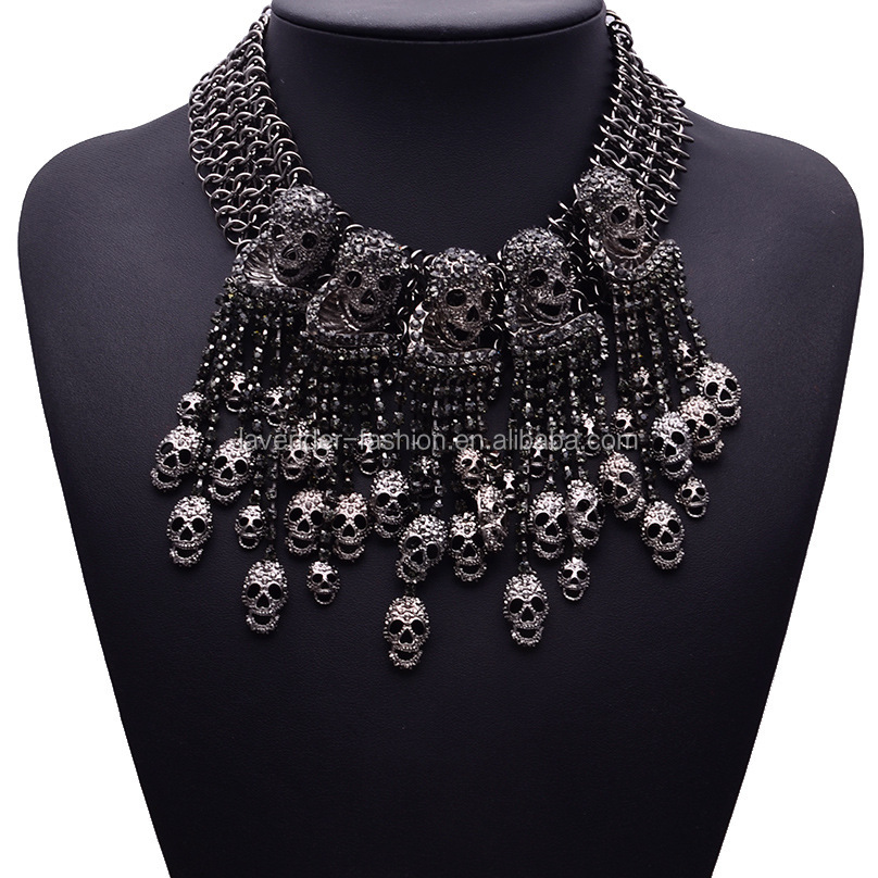 Wholesale black choker <strong>necklace</strong> skull pendant statement <strong>necklace</strong>