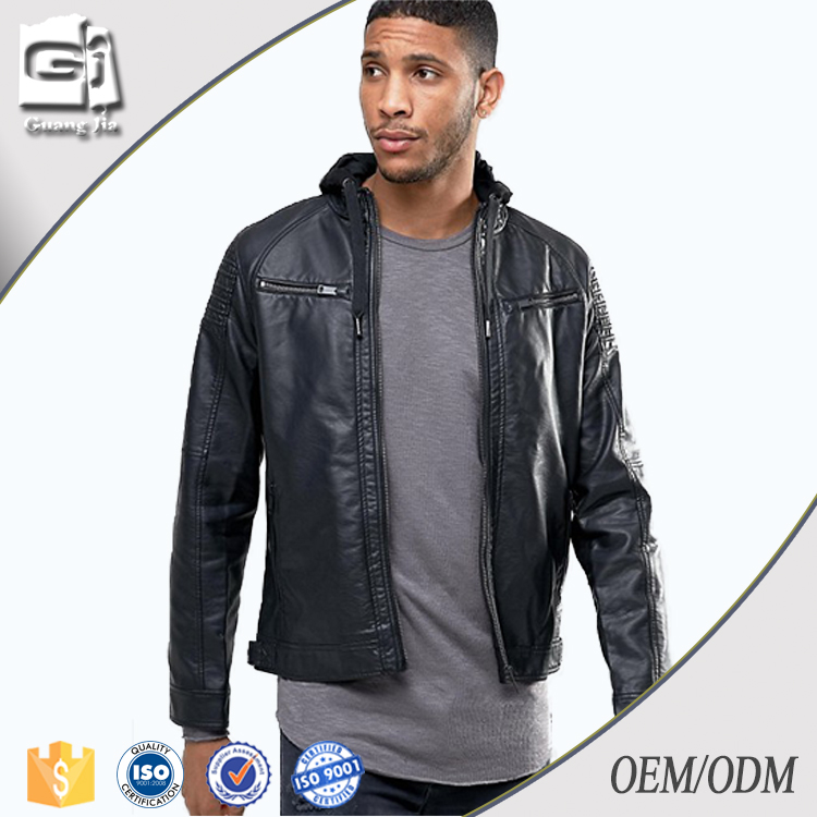 Guangjia Wholesale Mens Bomber Jackets Plain Custom Made Waterproof Winter Pu Leather Jacket Made In China
