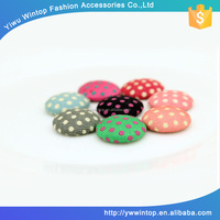 dot pattern round shape custom made no hole fabric covering button for headband decoration