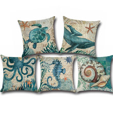 Tropical sea shell Series Cotton & Linen Burlap Square Throw Pillow Covers for Sofa