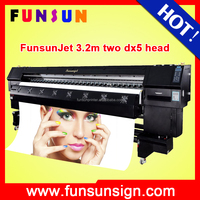 Funsunjet FS-3202K 3.2m large format digital solvent printer for banner and sticker printing (two dx5 head ,disocunt price now )