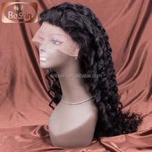 Qingdao hair factory swiss lace deep wave mudium size peruvian full lace wig
