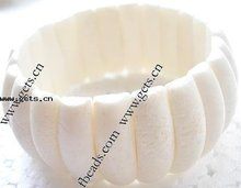 Natural Sponge Coral Bracelet, moon beads, white color, elastic, 25X9mm, Sold per 7.5-Inch Strand