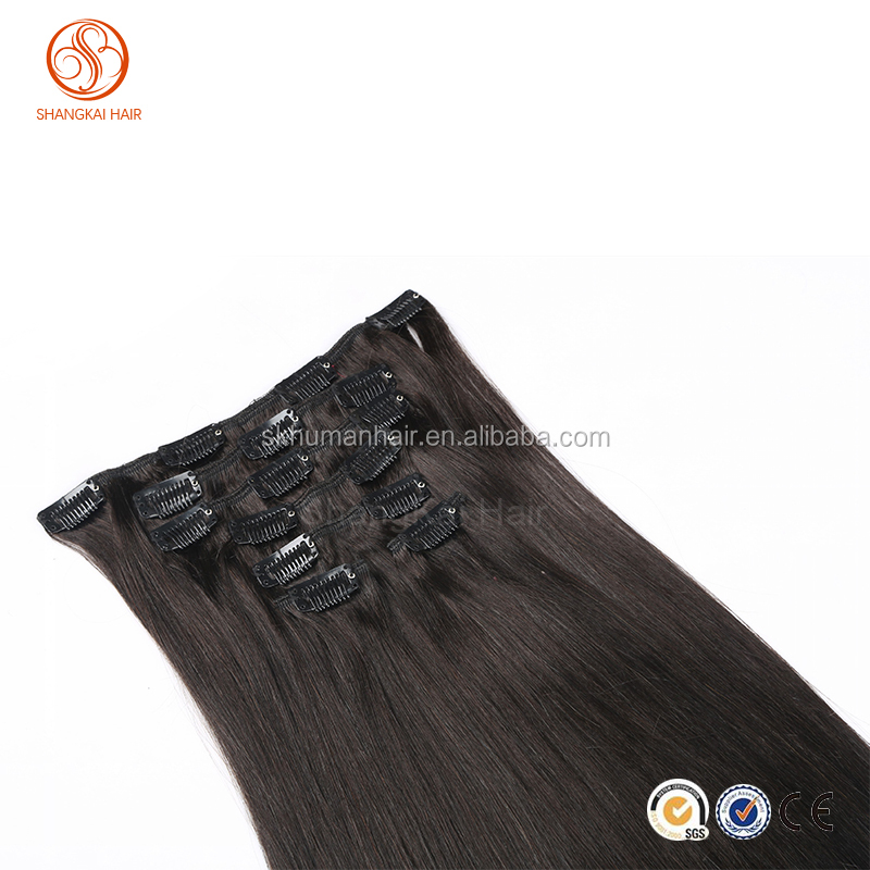 100% Human Remi Hair Human Clips Straight Hair Extension