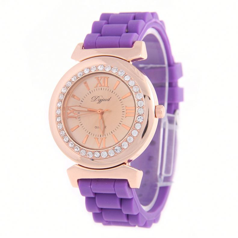 Silicone crystal Diamond watches for women rubber jelly watch quartz wristwatches factory