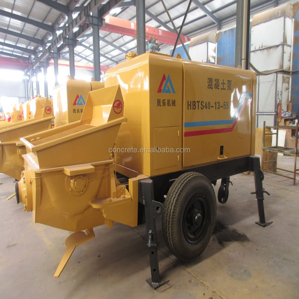 portable concrete trailer pump used for delivery concrete in the concrete mixer plant PLC control system factory price
