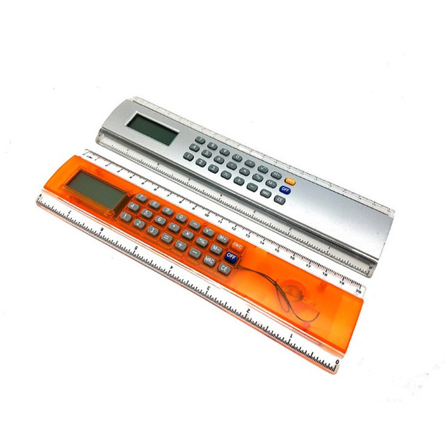 Promo plastic ruler calculator with digital clock