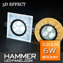 [HAMMER DESIGN] 2015 New cool white Crystal diammble panel led ceiling light with 3W+3W 6W