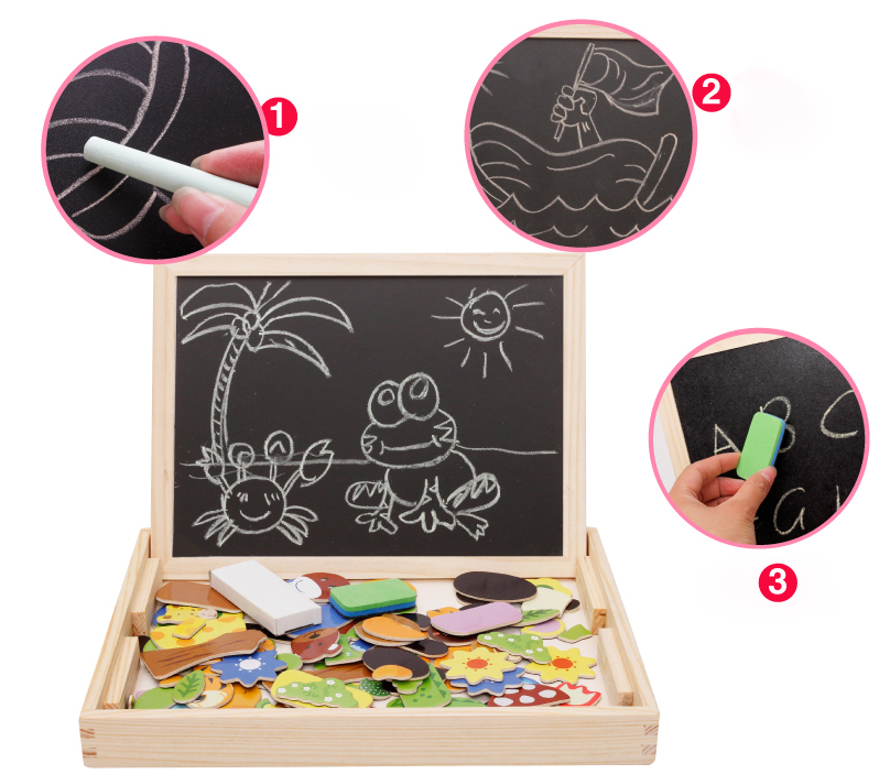 Wooden animal jigsaw blackboard toy for children games