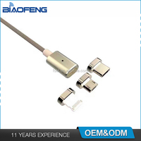 2.4A Quick Charger Nylon Braided Metal Micro USB Smart Magnetic Charging Data Cable For iPhone/Android/Type-C