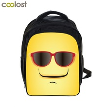 13 inch Kids Backpack Book Bag personalized Little Boy's Girl's School Bags Rucksack with Emoji Pattern 2017 NEW