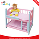Hot sale Pink wooden rosebud Doll house furniture 1 12 scale Bunk Bed Toy for 18 dolls