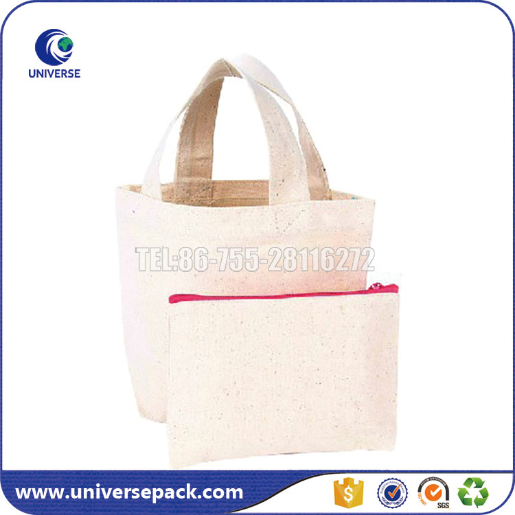 Recycled Custom Made Blank Canvas Lunch Tote Bag With Zipper Closure