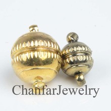 Lead free Gold plated alloy round magnetic clasp for making fashion jewelry accessory