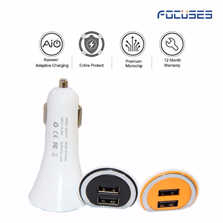 Free Samples! Input DC12V-24V DC 5V/2.4A Dual Usb Car Charger, Colorful Round Circle Car Charger With CE ROHS FCC Certificate