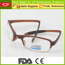 2017 hot style fashionable brown wholesale TR90 folding reading glasses