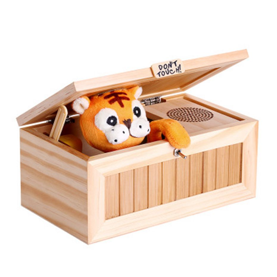 NEW Cute Tiger Creative Toy Don't Touch Useless Box With Surprises Musical Box
