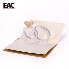 Diamond ring gold foil pearl paper love pop up card luxurious wedding invitation cards