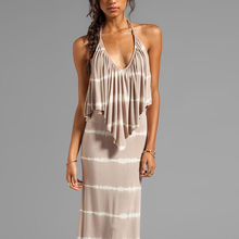 High-ends fashionable sexy stretchy halter neck women long dress