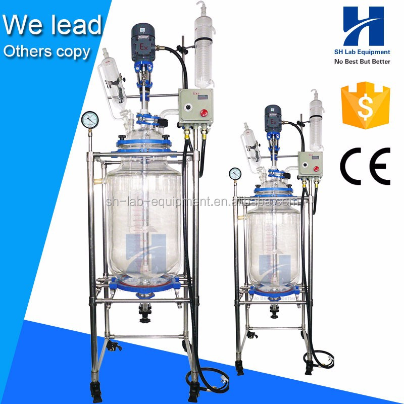 10L 10 Liter Double Layer Jacketed Glass Reactor with double wall