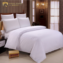 China supplier queen size 3cm stripe 300TC hotel bed linen bed sheet set 100% cotton bedding set