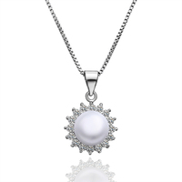 Alibaba Hot Sale SJLKNPLP002 Trendy Pave AAA Cubic Zirconia Artificial White Pearl 18K Gold Plating Sun Flower Pearl Necklace