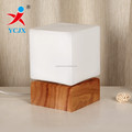 opal white square glass lampshade with wooden base for table lighting