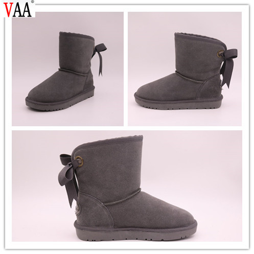 Discount Bowknot Unique TPR Sole Winter Low Price And Genuine Leather Snow Women Boots In Stock JLX-CF-28