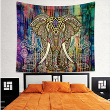 BeddingOutlet Elephant Tapestry Colored Printed Decorative Mandala Tapestry Indian 130cmx150cm 150cmx210cm Boho Wall Carpet