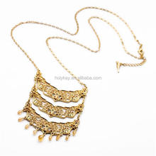 2014 fashion fine gold plated jewelry triple layered alloy pendant long necklace