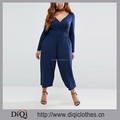 Chic Factory Price Custom Long Sleeve Curve Wrap Plus-size Jumpsuit in Crop Wide Leg