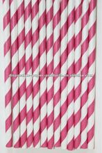 raspberry pink and white stripe paper straws Striped Stripey Stripe Paper Drinking Straws, 33 colors , wholesale