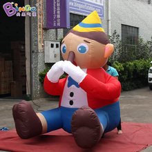 decorative 2M tall inflatable puppet cartoon, custom printed face inflatable doll