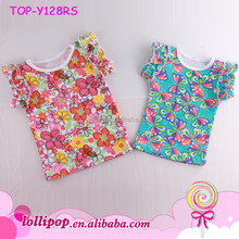 Baby Toddler Girls' All Cotton bright Floral Printed Double Ruffle Tank Top Blouse T shirts Cute Baby Names For Girl Picture