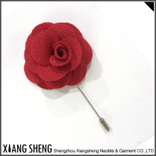 Handmade Cheap price red Fabric Flower Lapel Pin