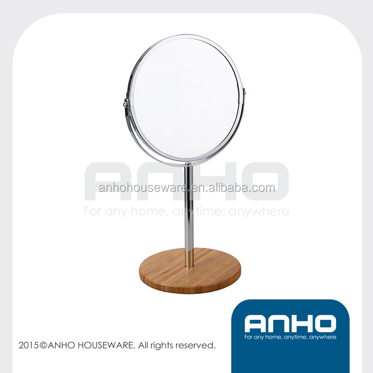 17cm double-sided cosmetic mirror makeup mirror with bamboo base