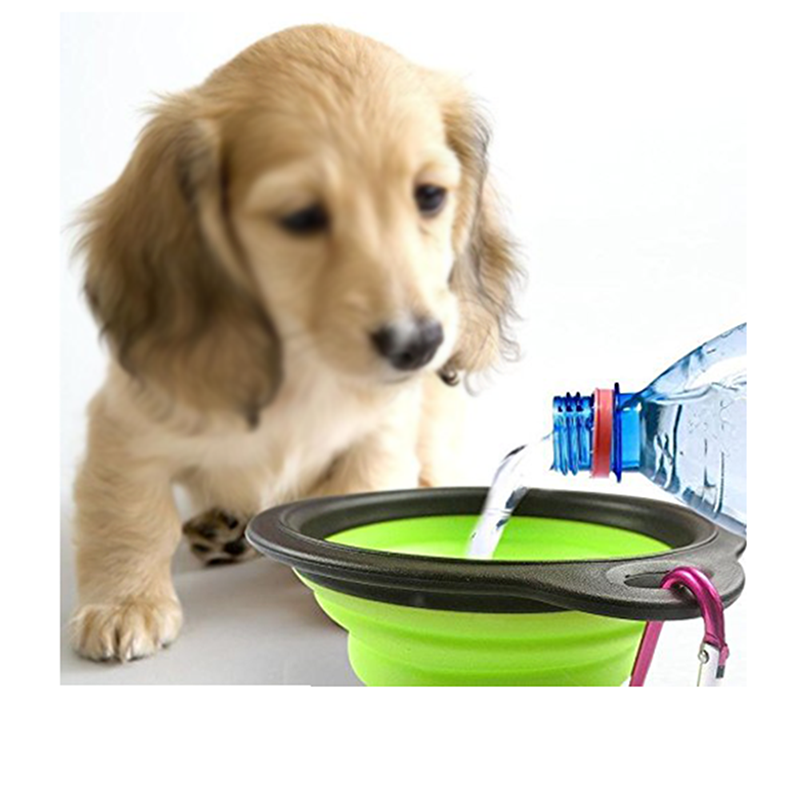 Wholesale 450ml travel silicone pet bowl