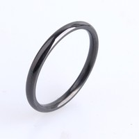 Cool Simple Smooth High Glossy Fashion black ring for men o the jewelry wholesale Black wedding stainless steel