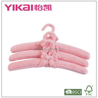 Set of 3pcs fuzz fabric padded clothes hanger in soft color