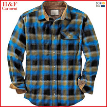 Plus size long sleeves flannel shirt casual bule black flannel shirt for man
