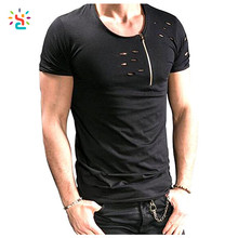 Hot sale mens distressed t shirts custom streetwear t shirt with side zipper blank wrinkle free t-shirts